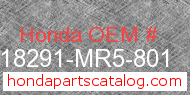 Honda 18291-MR5-801 genuine part number image