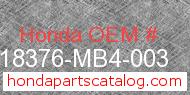 Honda 18376-MB4-003 genuine part number image