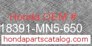Honda 18391-MN5-650 genuine part number image