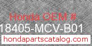 Honda 18405-MCV-B01 genuine part number image