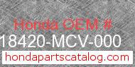 Honda 18420-MCV-000 genuine part number image