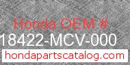 Honda 18422-MCV-000 genuine part number image