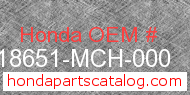 Honda 18651-MCH-000 genuine part number image