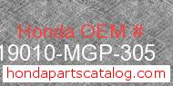 Honda 19010-MGP-305 genuine part number image