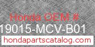 Honda 19015-MCV-B01 genuine part number image