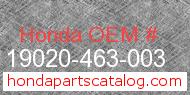 Honda 19020-463-003 genuine part number image
