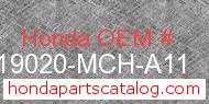 Honda 19020-MCH-A11 genuine part number image