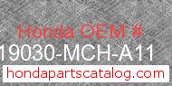 Honda 19030-MCH-A11 genuine part number image