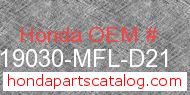 Honda 19030-MFL-D21 genuine part number image