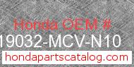 Honda 19032-MCV-N10 genuine part number image