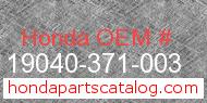 Honda 19040-371-003 genuine part number image