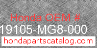 Honda 19105-MG8-000 genuine part number image