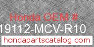 Honda 19112-MCV-R10 genuine part number image