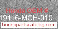 Honda 19116-MCH-010 genuine part number image