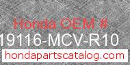 Honda 19116-MCV-R10 genuine part number image