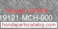 Honda 19121-MCH-000 genuine part number image