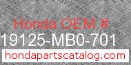 Honda 19125-MB0-701 genuine part number image