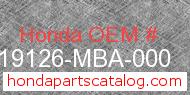 Honda 19126-MBA-000 genuine part number image