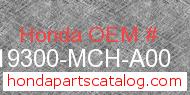 Honda 19300-MCH-A00 genuine part number image