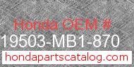Honda 19503-MB1-870 genuine part number image