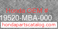Honda 19520-MBA-000 genuine part number image