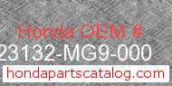 Honda 23132-MG9-000 genuine part number image