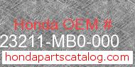 Honda 23211-MB0-000 genuine part number image