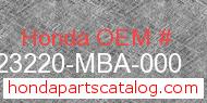 Honda 23220-MBA-000 genuine part number image