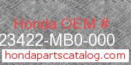 Honda 23422-MB0-000 genuine part number image