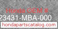 Honda 23431-MBA-000 genuine part number image