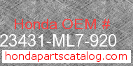 Honda 23431-ML7-920 genuine part number image
