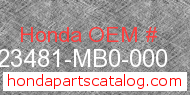 Honda 23481-MB0-000 genuine part number image