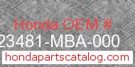 Honda 23481-MBA-000 genuine part number image