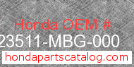 Honda 23511-MBG-000 genuine part number image
