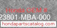 Honda 23801-MBA-000 genuine part number image