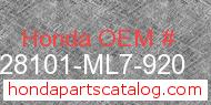 Honda 28101-ML7-920 genuine part number image