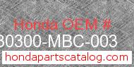 Honda 30300-MBC-003 genuine part number image