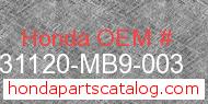 Honda 31120-MB9-003 genuine part number image