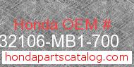 Honda 32106-MB1-700 genuine part number image
