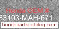 Honda 33103-MAH-671 genuine part number image