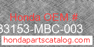 Honda 33153-MBC-003 genuine part number image