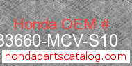Honda 33660-MCV-S10 genuine part number image