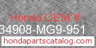 Honda 34908-MG9-951 genuine part number image