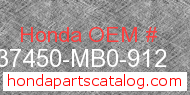 Honda 37450-MB0-912 genuine part number image