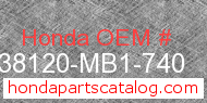 Honda 38120-MB1-740 genuine part number image