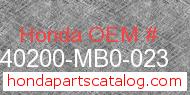Honda 40200-MB0-023 genuine part number image