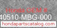 Honda 40510-MBG-000 genuine part number image
