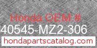 Honda 40545-MZ2-306 genuine part number image