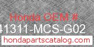 Honda 41311-MCS-G02 genuine part number image