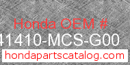 Honda 41410-MCS-G00 genuine part number image